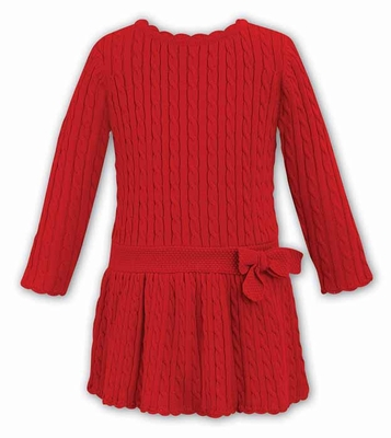 Dani by Sarah Louise Girls Cable Knit Sweater Dress with Bow - Red