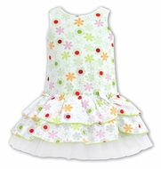 Sarah Louise Girls Citrus Green Dots / Floral Sleeveless Drop Waist Dress
