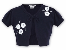 Sarah Louise Girls Cotton Cardigan Sweater Bolero - Navy Blue