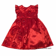 Sarah Louise Girls Dressy Red Christmas Dress - Flowers & Flutter Sleeves