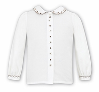 Sarah Louise Girls Ivory Blouse with Brown Embroidered Details