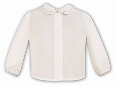 Sarah Louise Girls Ivory Blouse with Collar Embroidered in Pink