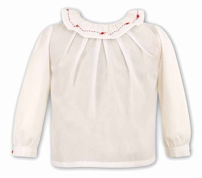 Sarah Louise Girls Ivory Blouse with Ruffle Neck - Red Embroidery