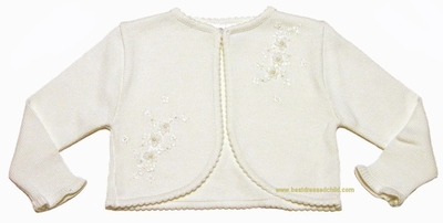 Sarah Louise Girls Ivory Bolero Sweaters with Embroidery Details