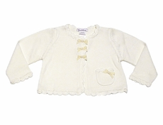 Sarah Louise Girls Ivory Cardigan Sweater Bolero with Scallops and Bows