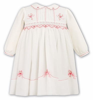 Sarah Louise Girls Ivory Smocked Dress - Embroidered in Coral - Long Sleeves