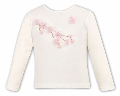 Sarah Louise Girls Ivory Top with Pink 3-D Flowers on Branch