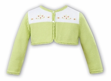 Sarah Louise Girls Lime Green / White Bolero Sweater with Embroidery Flowers