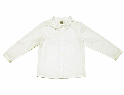 Sarah Louise Girls Long Sleeved Blouse with Bows on Collar - Ivory