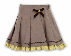 Sarah Louise Girls Mocha Brown Skirt with Dotted Underskirt