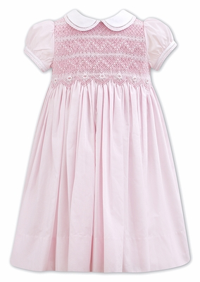 Sarah Louise Girls Pink Dress with Collar - Fully Smocked Bodice