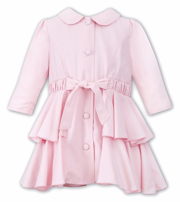 Sarah Louise Girls Pink Ruffled Spring 3/4 Length Trench Coat