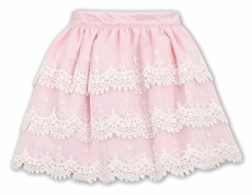 Sarah Louise Girls Pink Skirt with Tiers of Ivory Lace