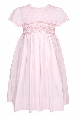Sarah Louise Girls Pink Smocked Bodice Dress with Ruffle Neck & Short Puffy Sleeves