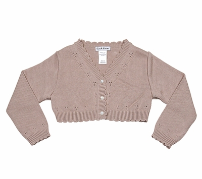 Sarah Louise Girls Pointelle Bolero Sweater - Scallop Edge - Mocha Brown