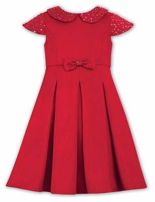 Sarah Louise Girls Red Cap Sleeve Christmas Dress with Sparkles and Bow