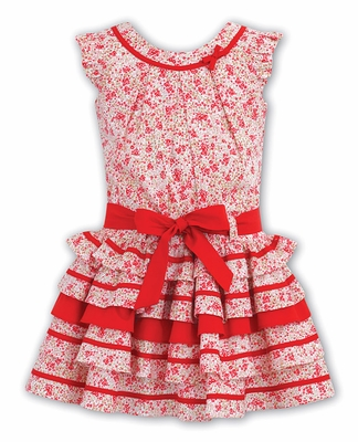 Sarah Louise Girls Red Floral Print Tiered Sleeveless Dress