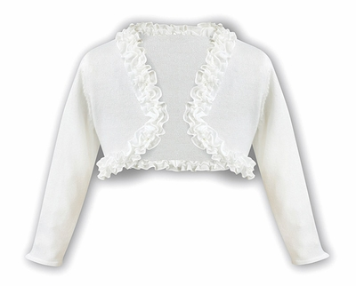 Sarah Louise Girls Ruffled Bolero Sweater - Ivory