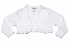 Sarah Louise Girls Ruffled Bolero Sweater - White
