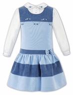 Sarah Louise Girls Shades of Blue Jumper Dress with Blouse