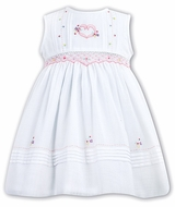 Sarah Louise Girls Sleeveless Smocked White Dress with Pink Heart Embroidery