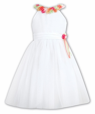 Sarah Louise Girls Sleeveless White Dress with Colorful Flowers Trim