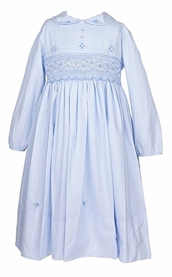 Sarah Louise Girls Smocked Bodice Dress with Collar / Sash / Long Sleeves - Blue
