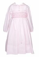 Sarah Louise Girls Smocked Bodice Dress with Sash / Collar / Long Sleeves - Pink