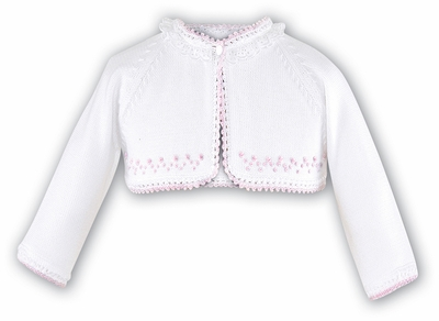 Sarah Louise Girls White Bolero Sweater with Eyelet - Pink Trim