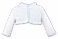 Sarah Louise Girls White Bolero Sweater with Eyelet - Blue Trim