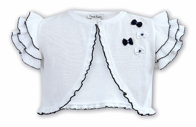 Sarah Louise Girls White Bolero Sweater with Navy Blue Bows & Flutter Sleeves