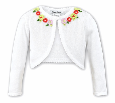 Sarah Louise Girls White Bolero Sweater with Orange / Green / Pink Flowers