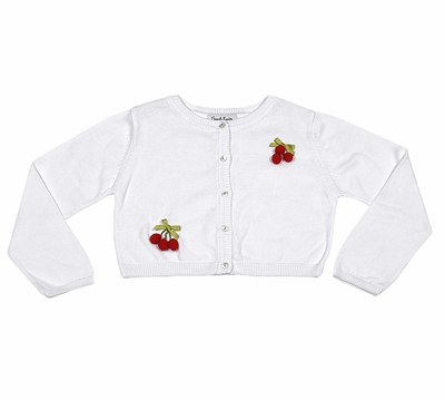 Sarah Louise Girls White Cardigan Sweater - Red Cherries