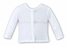 Sarah Louise Girls White Cardigan Sweater with Bows and Pink Rosettes