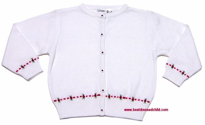 Sarah Louise Girls White Cardigan Sweaters with Christmas Red Holly Embroidery