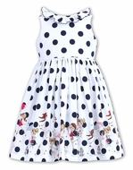 Sarah Louise Girls White / Navy Blue Dots Sleeveless Sun Dress - Vacation Theme