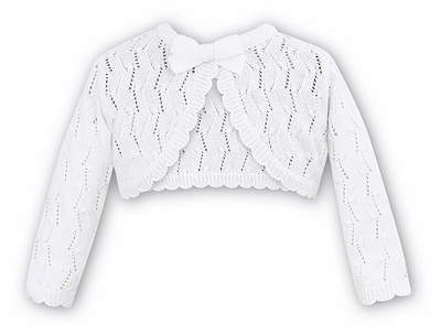 Sarah Louise Girls White / Lurex Open Weave Sweater Bolero with Bow