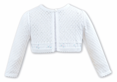 Sarah Louise Girls White Pointelle Sweater with Embroidered Pink Flowers
