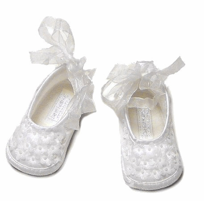 Sarah Louise Girls White Satin Christening Shoes - Flower Pearls / Organza Ribbon