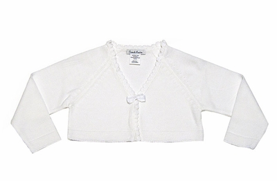 Sarah Louise Girls Winter White Bolero Sweater with Scallop & Bow