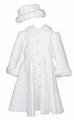 Sarah Louise Girls Winter White On White Floral Dress Coat