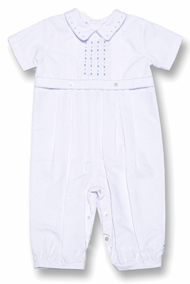 Sarah Louise Infant Baby Boys Dressy Longall with Blue Embroidery - WHITE