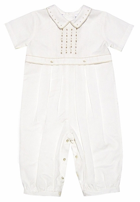 Sarah Louise Infant Baby Boys Dressy Longall with Embroidery - IVORY