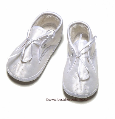 Sarah Louise Infant Baby Boys Dressy Silk Christening Shoes - Embroidery Cross - White or Ivory