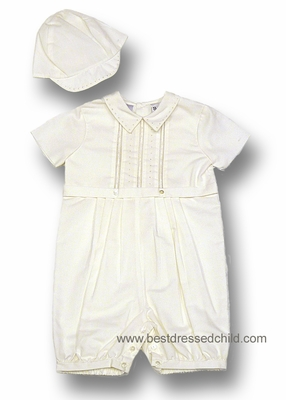 88614d49c Sarah Louise Infant Baby Boys Ivory Romper Suit with Hat - Suitable for  Christening