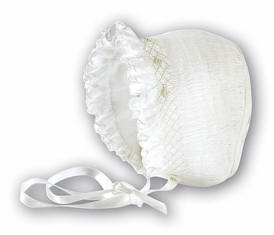 Sarah Louise Baby Girls Beautiful Smocked Bonnet Hat - White or Ivory