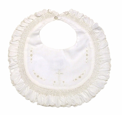 Sarah Louise Infant Baby Girls Christening Bib with Ruffle and Embroidery Cross - Ivory or White