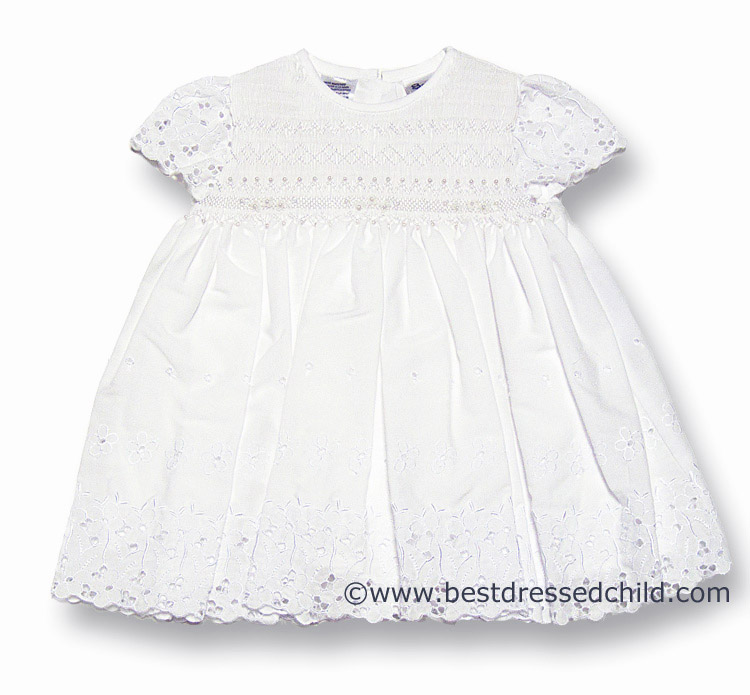 Sarah Louise Infant Baby Girls Eyelet Dress White