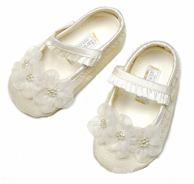 Sarah Louise Infant Girls Ivory or White Silk Christening Shoes with Organdy Flowers