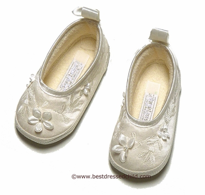 Sarah Louise Infant Baby Girls Silk Christening Shoes with Flowers and Satin Ankle Ribbon - IVORY